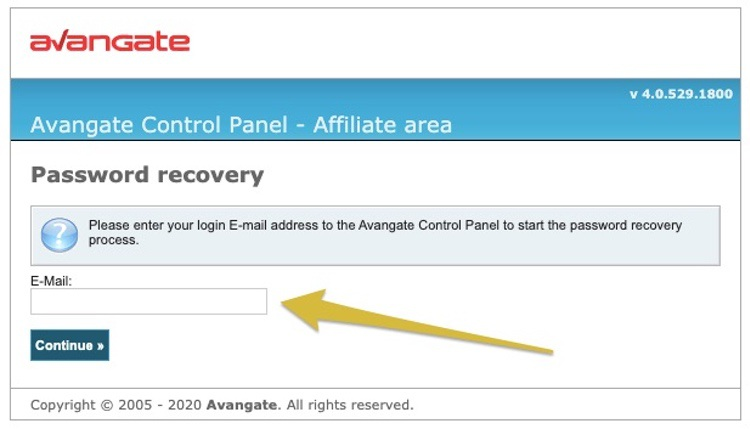 Avangateパスワード再設定